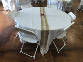 White Table Cloths and Burlap Decorations